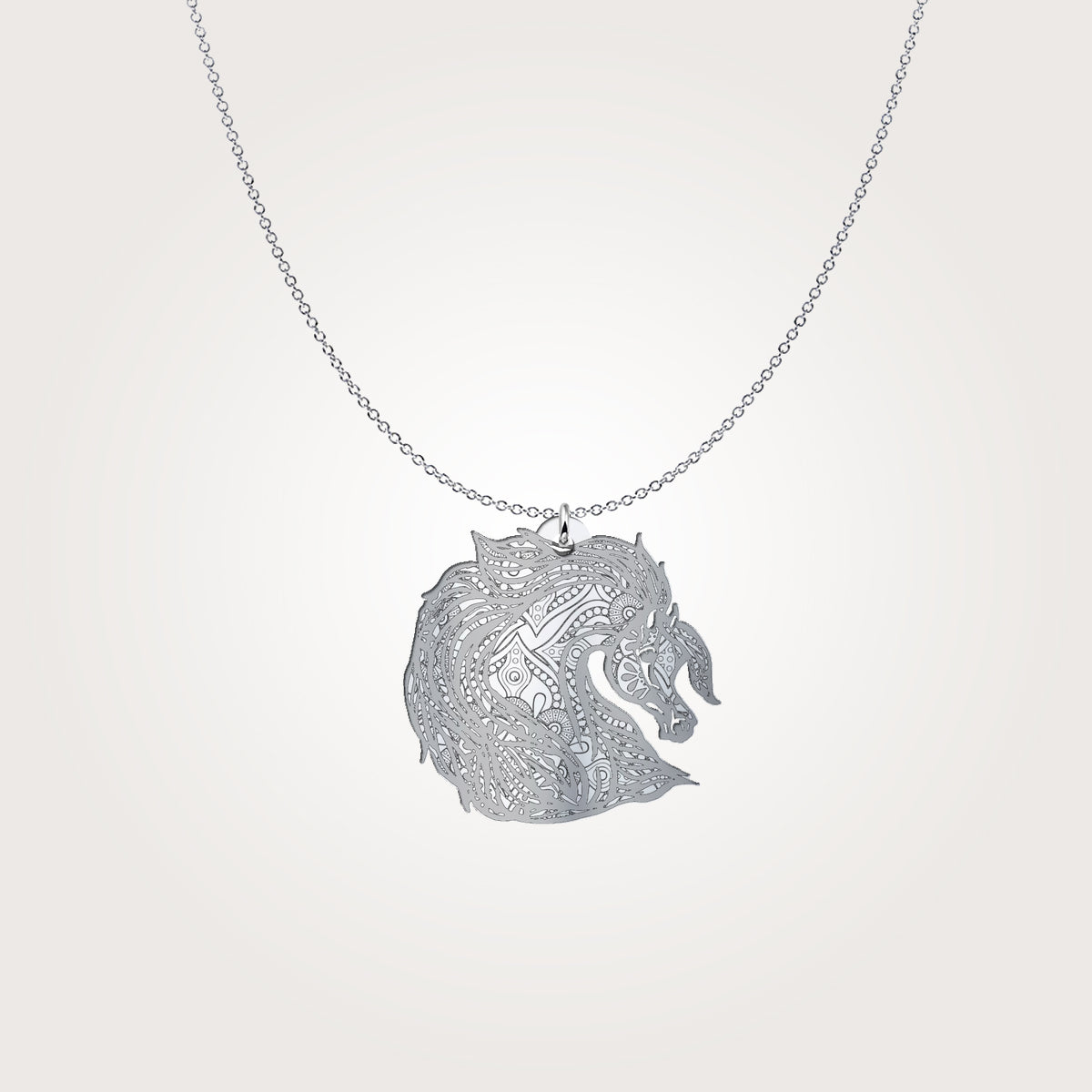 Sterling Silver Tribal Arabian Horse Necklace