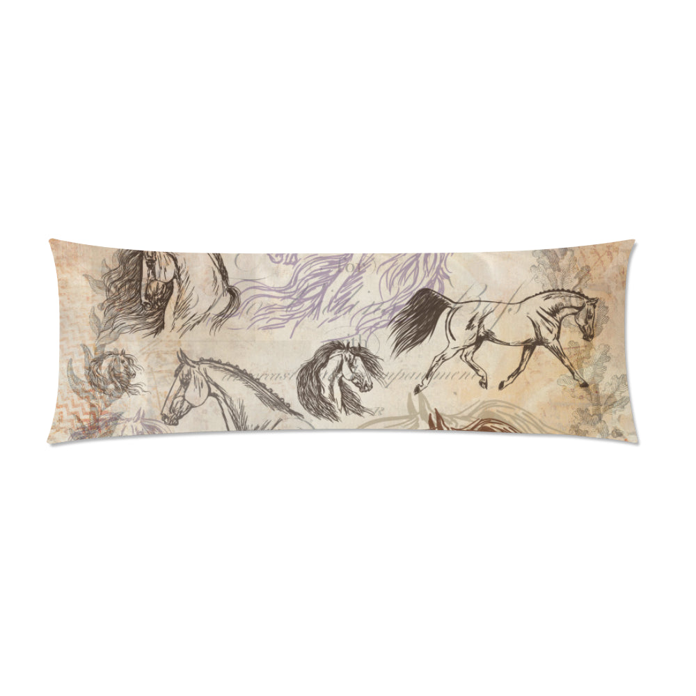Vintage Equestrian Horse Body Pillow CASE