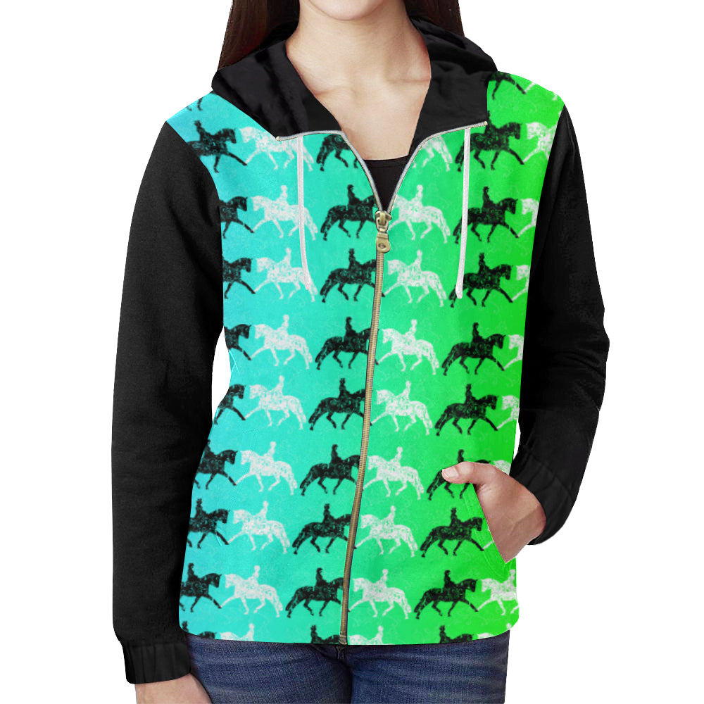 Dressage Horse Rider  Women's Full Zip Hoodie