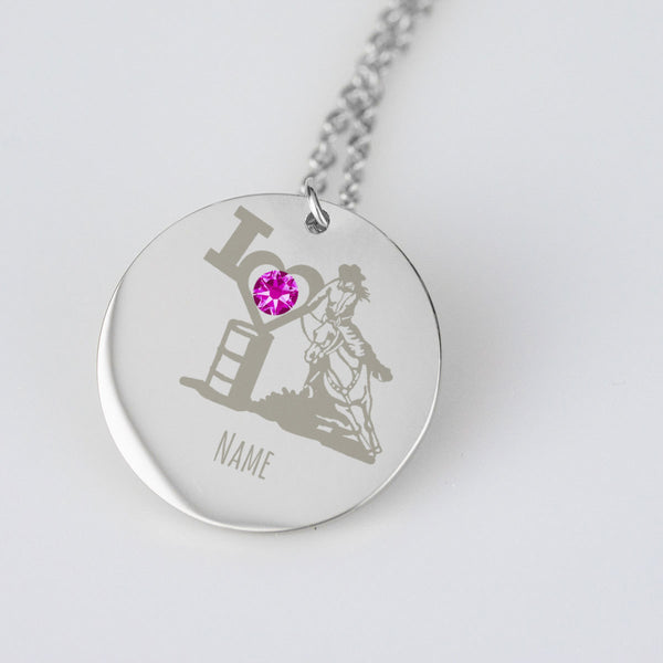 Personalized Barrel Racing Necklace with Text and Birth Stone