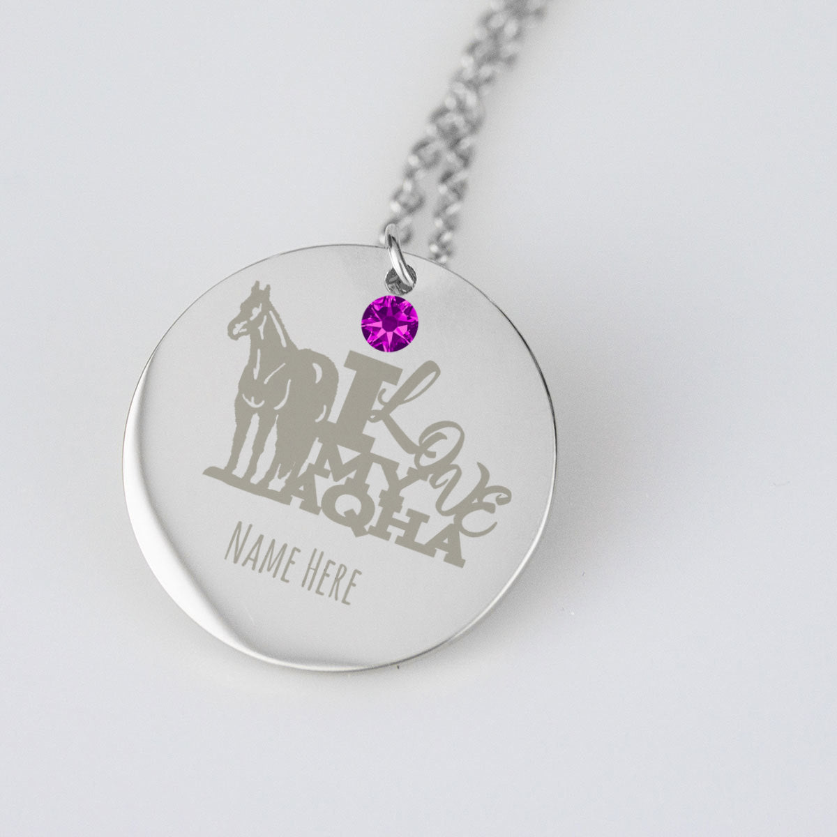 I Love my AQHA Horse Necklace Birthstone and Personalization