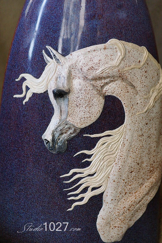 Purple Flea Bitten Arabian Horse Relief Sculpture
