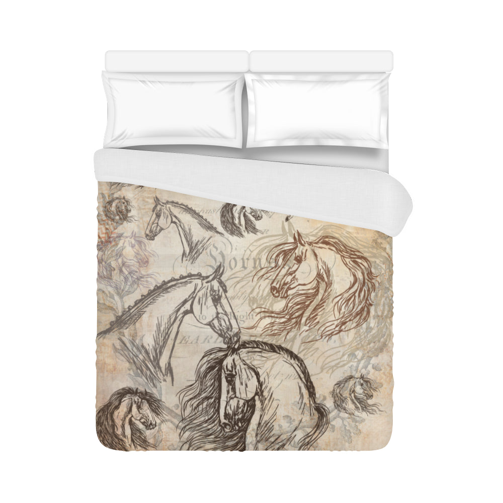 Queen Full size Vintage Horse Duvet Cover Bedding