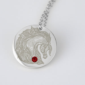 Tribal Arabian Horse Necklace Personalize with Birthstone