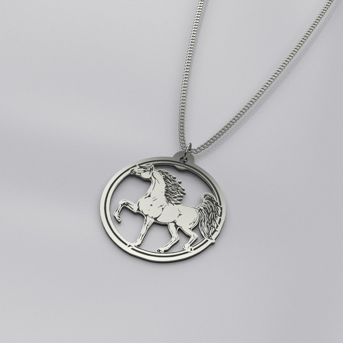 Prancing Arabian Horse Silver Necklace