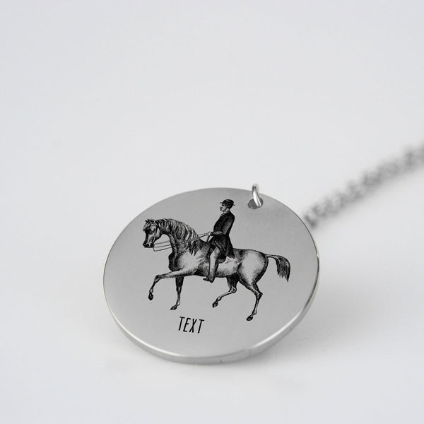 Vintage Horse and Rider Personalized Necklace