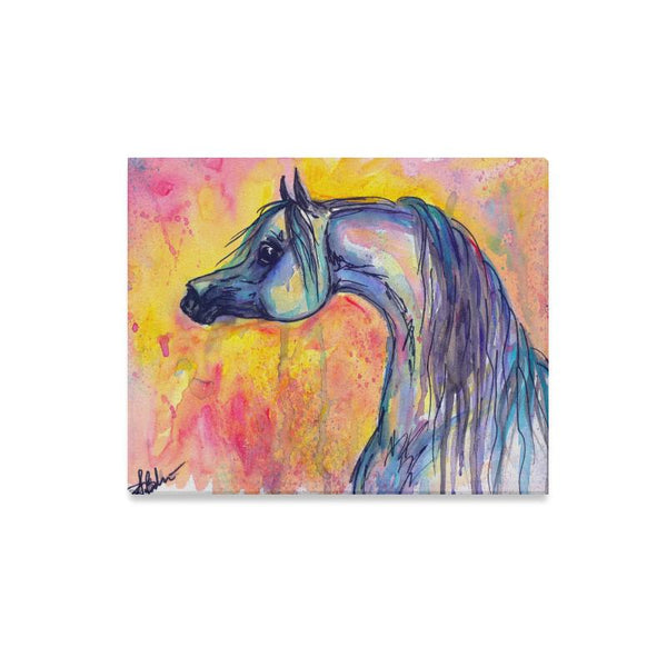 Arabian Horse Art Water Color Canvas Print 20x16 inches
