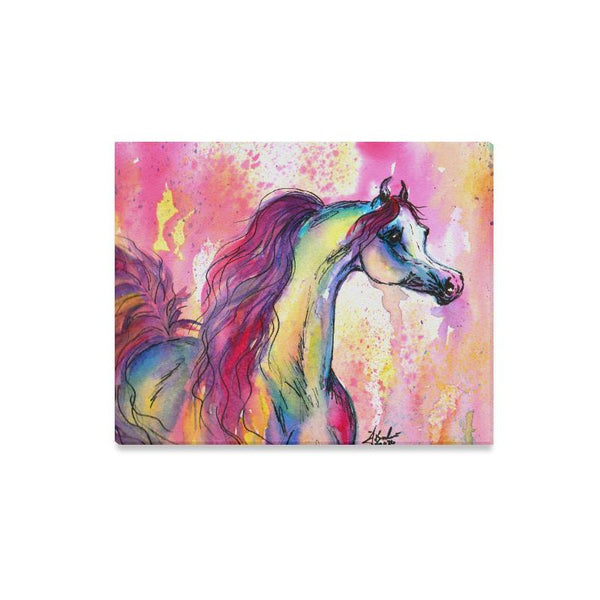 Arabian horse equine art decor watercolor Canvas Print 16x20 inches Farm House