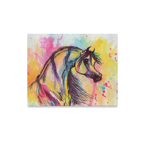 Arabian Horse Art Watercolor Painting Impressionist Canvas Print 20x16 inches
