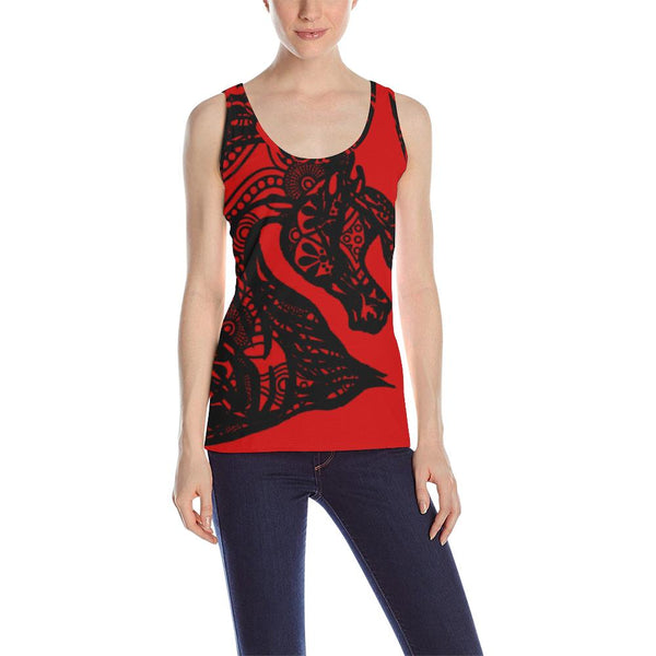Arabian Horse Black Tribal Lace Ladies Tank top