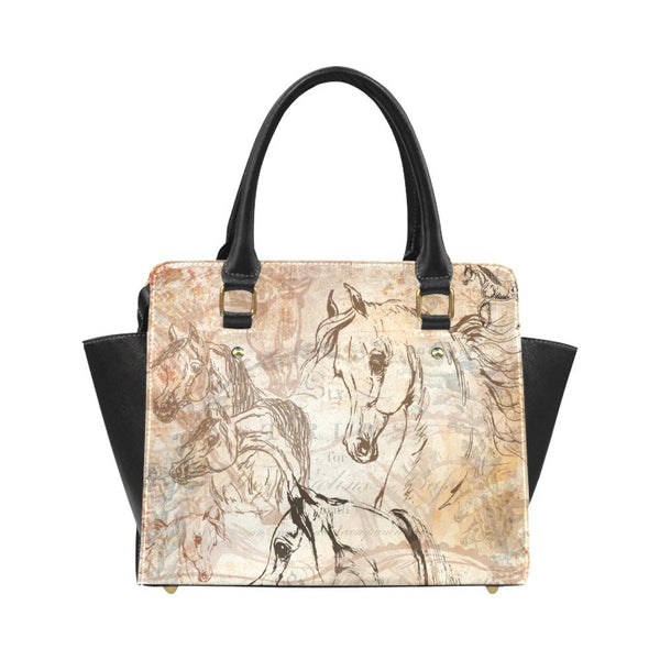 Arabian Horse Vintage Inspired PU Leather Hand Bag