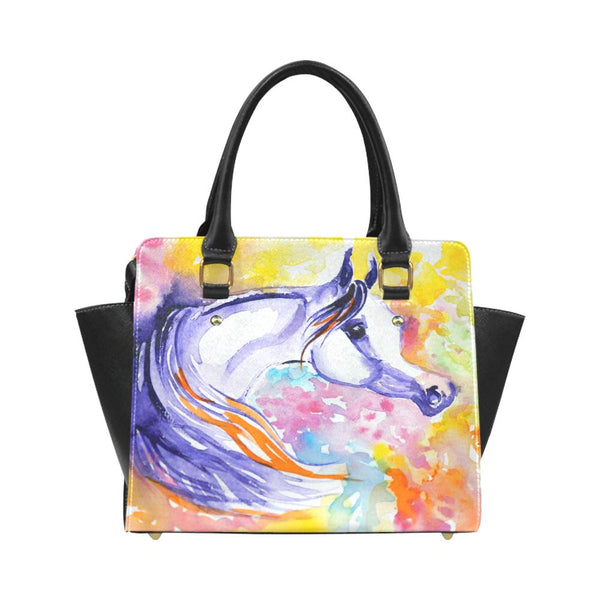 Arabian Horse Water Color PU Leather Hand Bag