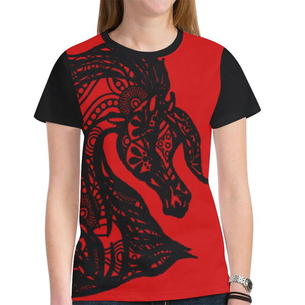 Black Tribal Arabian Horse Lace Lady's Tee