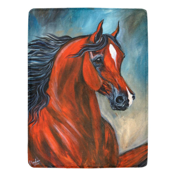 Blood Bay Wild Arabian Horse Ultra Soft micro fleece Blanket 60x80in
