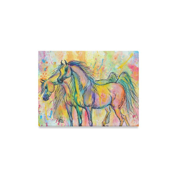 Dynamic Duo Arabian Horses Water Color print 16x12""
