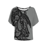Black Lace Quarter Western Horse Art Ladies Blouse