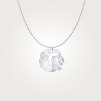 Dreamy Arabian Horse Stallion Sterling Silver Necklace
