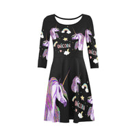 Unicorn Summer Dress 3/4 Sleeve