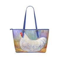 Pretty White Hen PU Leather Hand Bag