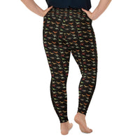 Dinosaur Black Pattern All-Over Print Plus Size Leggings