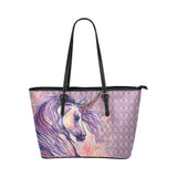 Majestic Unicorn Purple Hand Bag Tote Bag Vegan Leather Purse Clutch Horse
