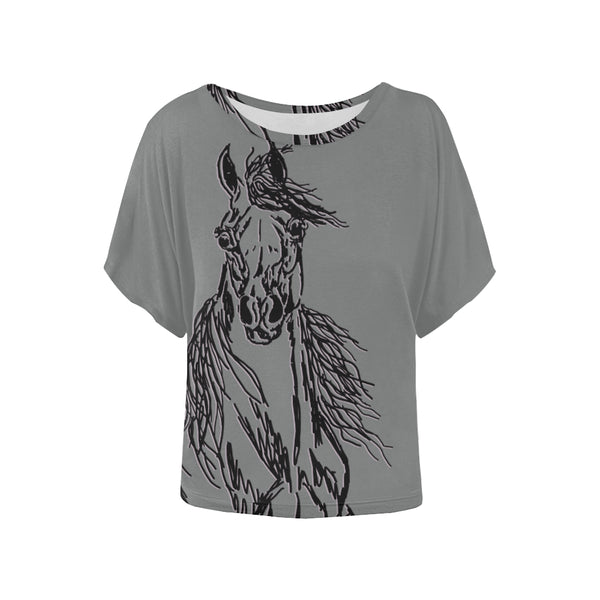 Striking Arabian Horse Bat Wing Blouse