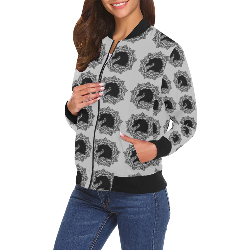 arabmand electric grey Women's All Over Print Casual Jacket (Model H19)