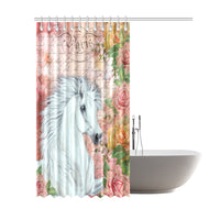 White Horse Vintage Rose Shower Curtain