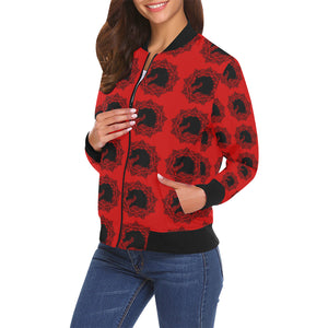 arabmand Red Women's All Over Print Casual Jacket (Model H19)