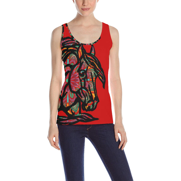 Mandala Colorful QH Red Women's All Over Print Tank Top (Model T43)