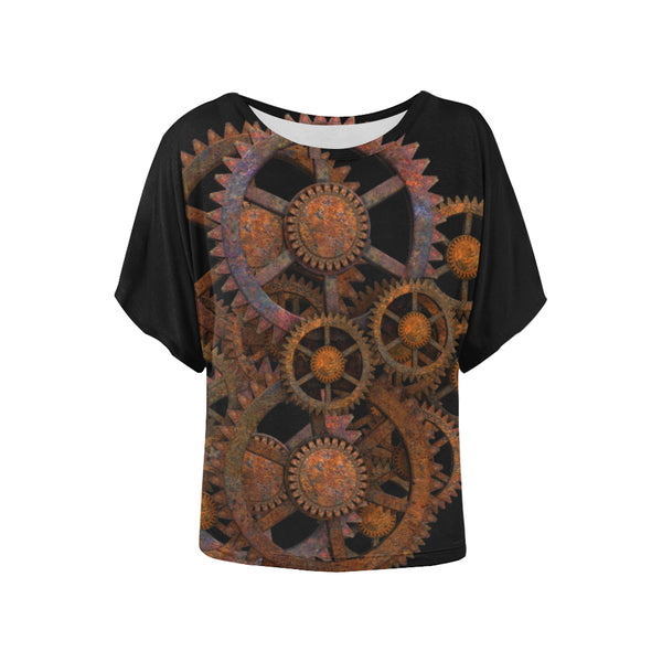Steam Punk Gears Gothic Machine Ladies Blouse