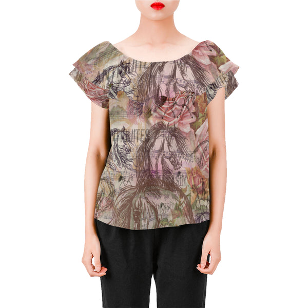 Vintage Inspired Equestrian Horse Chiffon Blouse