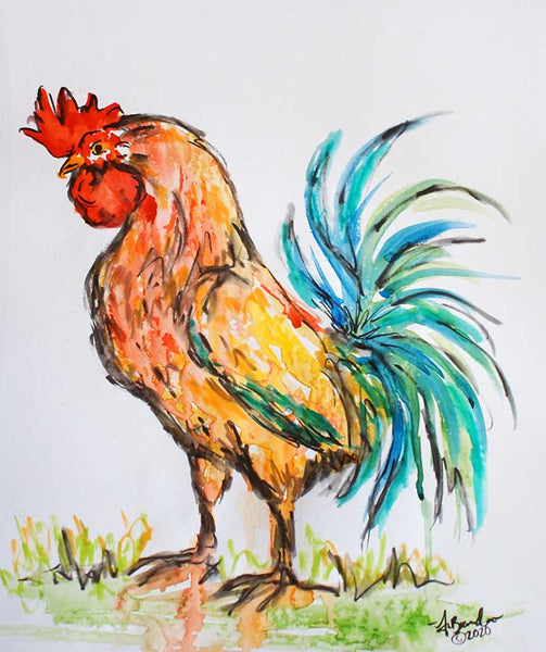 Original Rooster Painting Impressionist Watercolor Original