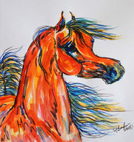 Bay Arabian Horse Impressionist Watercolor painting