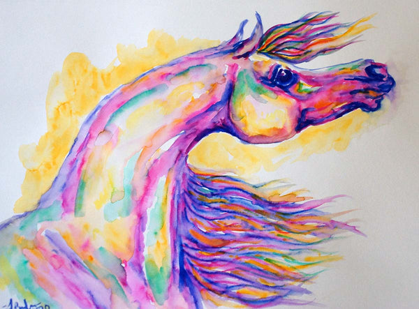 Arabian Horse Head Watercolor Painting