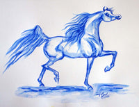 Blue Trotting Arabian Horse Original Watercolor Painting