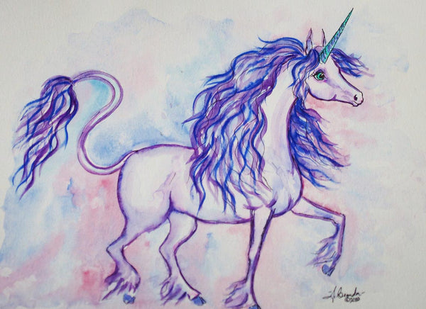 Last Unicorn Inspired Watercolor Painting