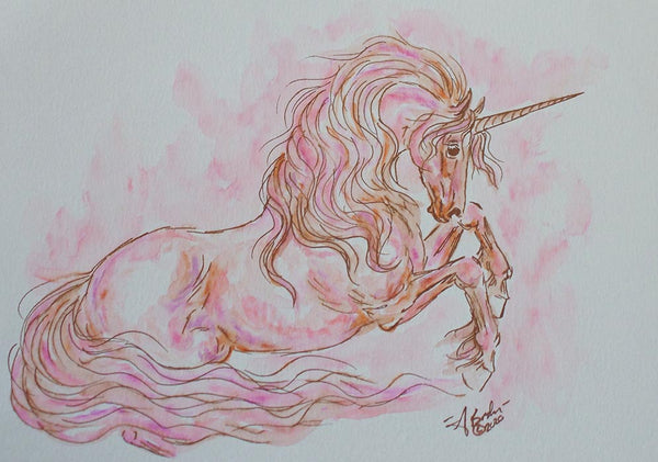 Rose Gold Unicorn Sketch Watercolor Painting