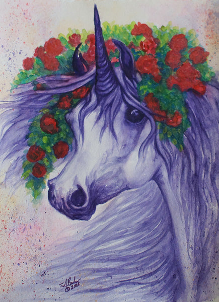 Purple Unicorn Watercolor Painting with Roses