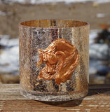 Copper Crackle Glass Arabian Horse Sculpture Vases