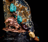 Reining Horse Copper Necklace with Turquoise and Amber