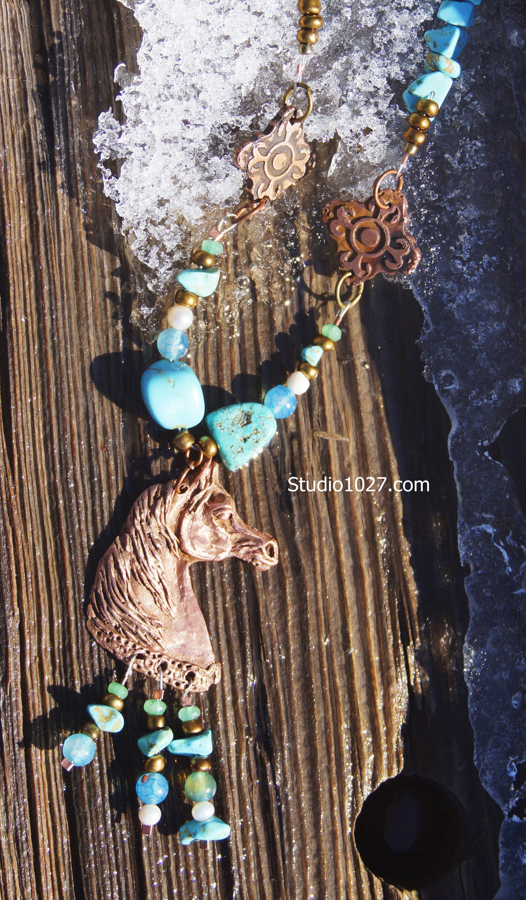 Original Sculpt Copper Arabian horse Necklace with turquoise and emeralds