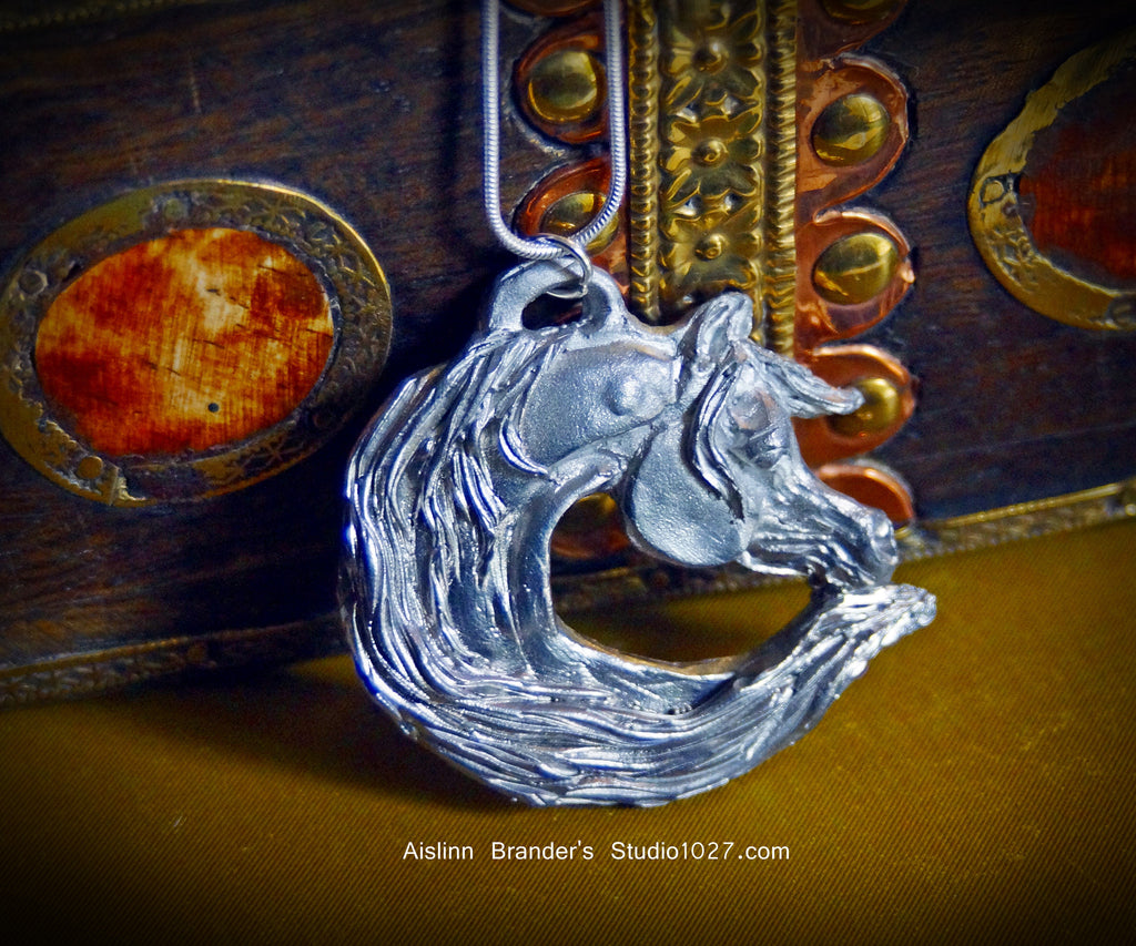 Whimsical Arabian Horse Pewter Necklace