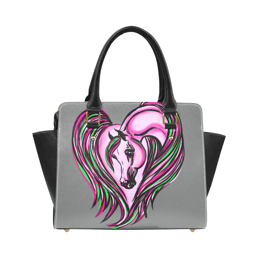 Pink Arabian Horse Heart PU Leather Hand Bag