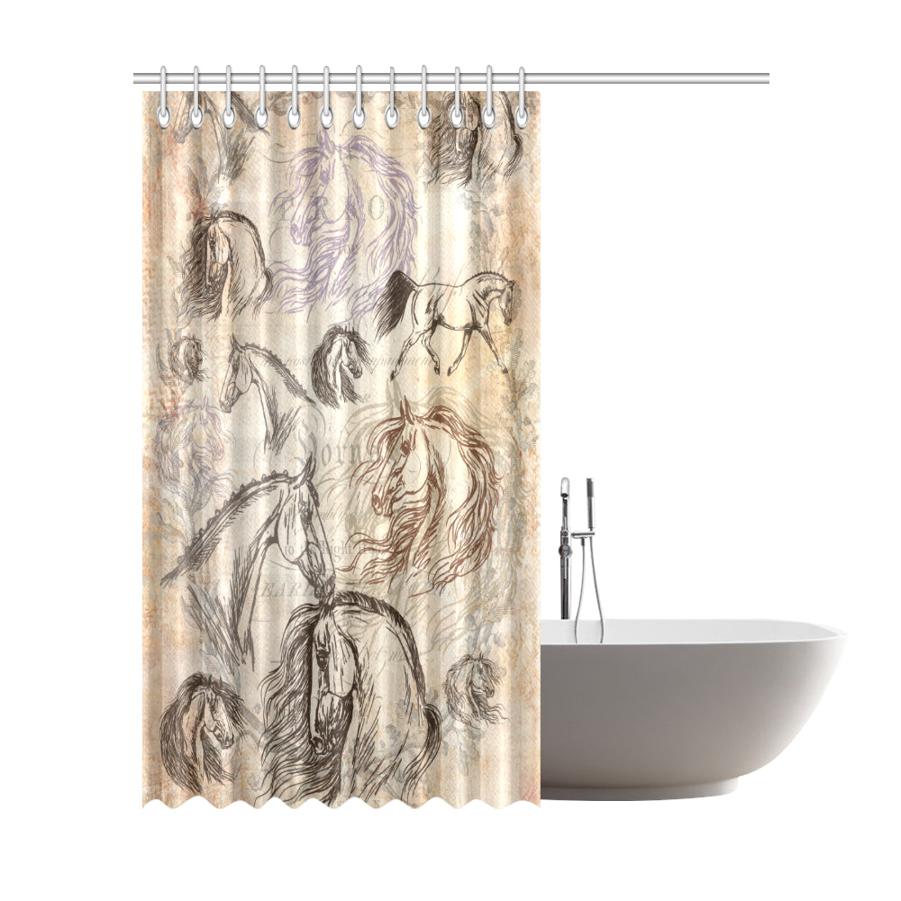 Vintage Equestrian Horse Shower Curtain Extra Tall 72x84""