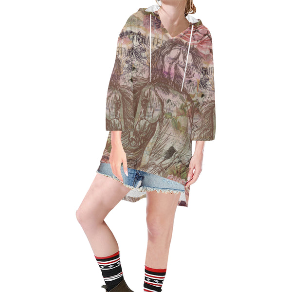Vintage Inspired Horse relaxed poncho hoodie