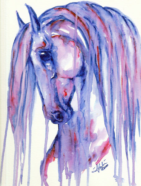 'Purple Drops' Horse Original Watercolor Painting