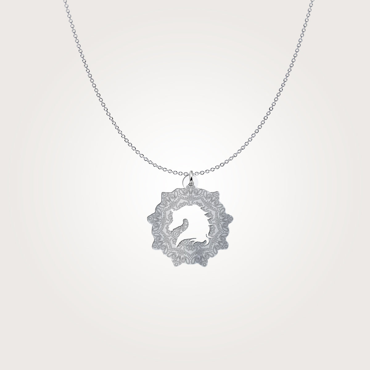 Mandala Arabian Horse Silhouette Sterling Silver Necklace