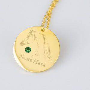 Personalized Birth Stone Arabian Horse Necklace