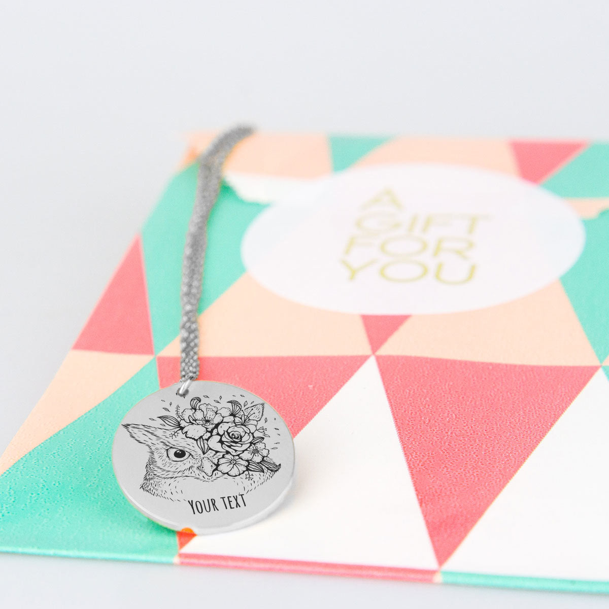 Owl with Roses Personalized Necklace